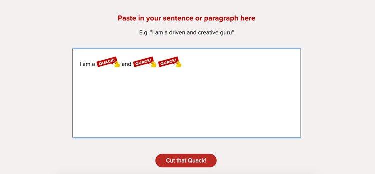 la form di Cut The Quack! in azione: le buzzword vengono sostituite da icone di paperelle