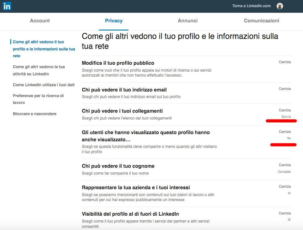 Le 7 configurazioni che molti trascurano nel proprio profilo LinkedIn